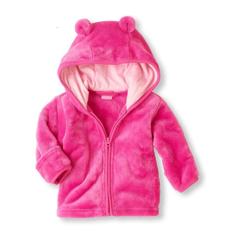 Autumn new baby cute coral velvet baby hoodie solid color hooded jacket