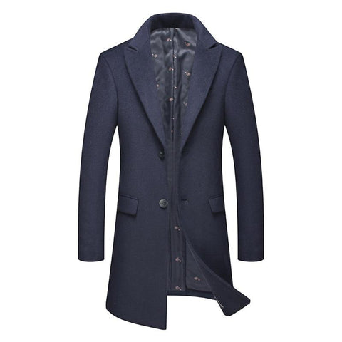 Clothing Winter Men's Wool Thick Trench Coat Business Casual Slim Fit Long Warm Overcoat Jacket Male Clothes