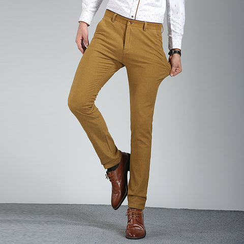 Brother Wang New Men's Elastic Slim Casual Pants Business Fashion Skinny Solid Color Male Trousers M501