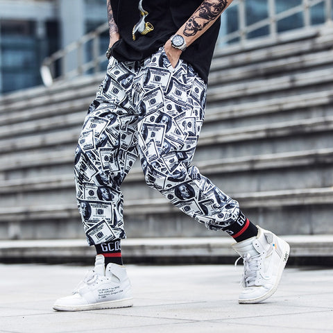 Hip Hop Men Clothes  Tide  Pants Couples Loose Casual Streetwear Sweatpants Pantalon Homme Jooger Printed Dollar Trousers