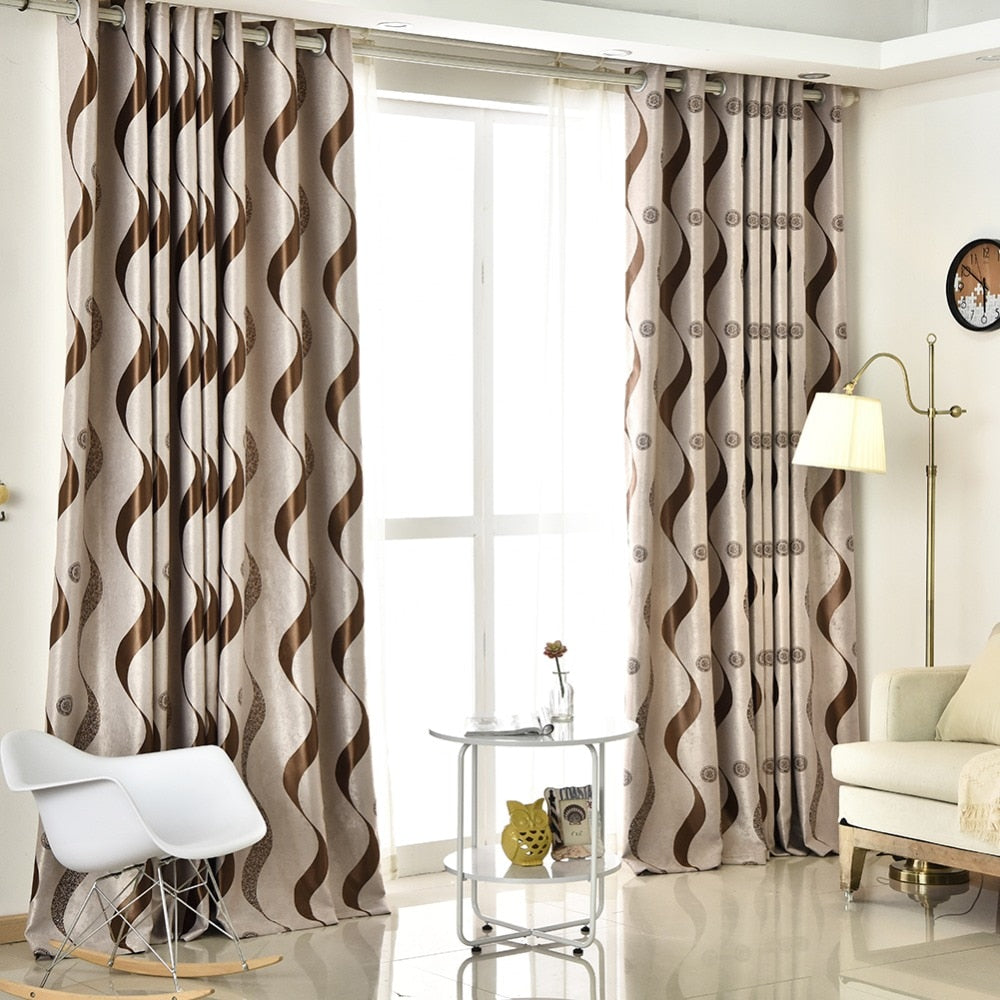Topfinel Thick Luxury Wavy Striped Curtains Design for Living Room Bedroom  Home Decoration Modern Blackout window treatments