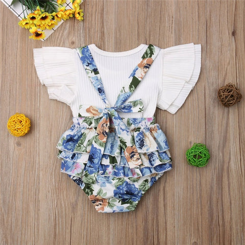 Newborn Baby Girl Sister Matching Floral Top Bib Pants Outfits Set Kids Jumpsuit Baby Girls Outfits Clothes