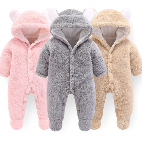 Newborn Baby Winter Hoodie Clothes Polyester Infant Baby Girls Pink Climbing New Spring Outwear Rompers 3m-12m Boy Jumpsuit