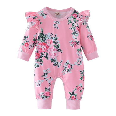Baby Rompers Newborn Baby Girl Clothes Fashion Flowers Baby Girl Clothing  Long Sleeve Ruffle Infant Jumpsuit