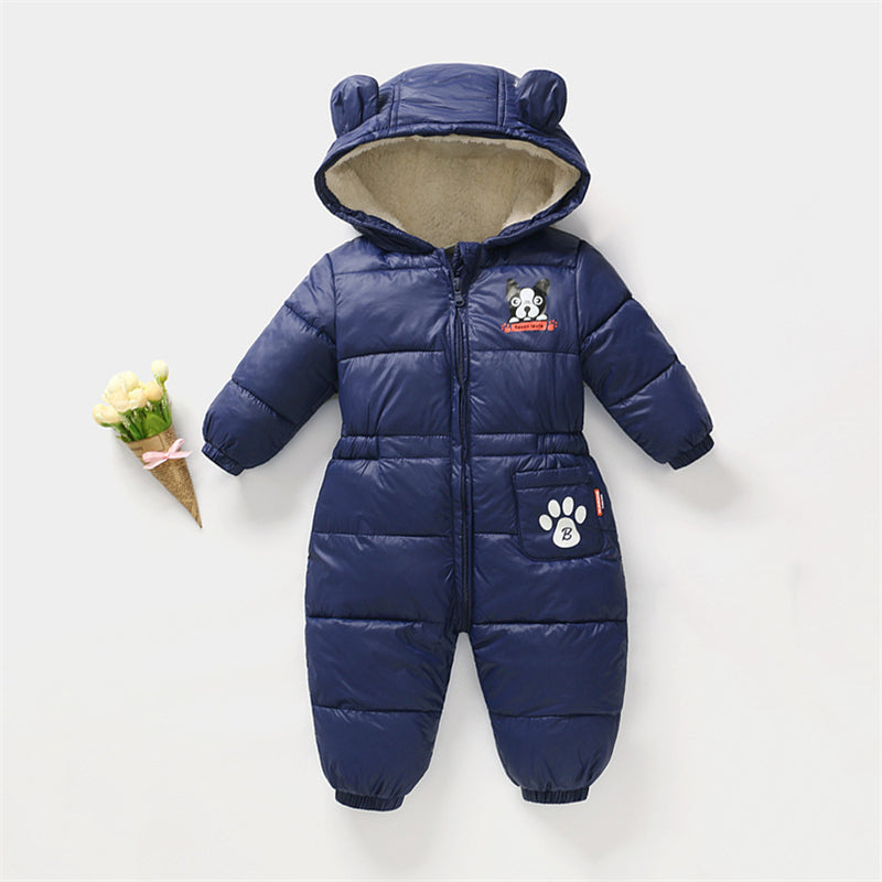 Toddler Baby Boy Girls Winter Romper Jacket Hooded Jumpsuit Thick Coat Outfit WE