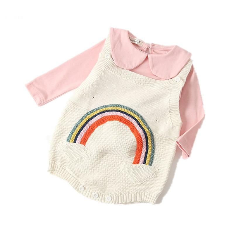 aad549537 New Autumn Baby Girl knit Romper Princess Girls Knit Jumpsuit ...