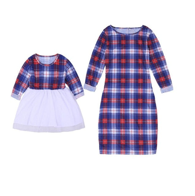 22c1df21 ... Enjoy Mother Daughter Dresses Spring Autumn Matching Outfits Moms And  Girls Clothes Long Sleeve Plaid Family ...