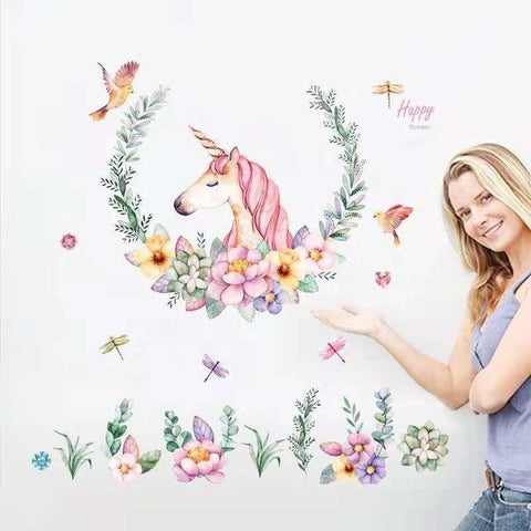 Cute Unicorn Flamingo Wall Stickers for Kids Rooms Girls Bedroom Decor DIY Poster Cartoon Animal Wallpaper Stickers on the Wall