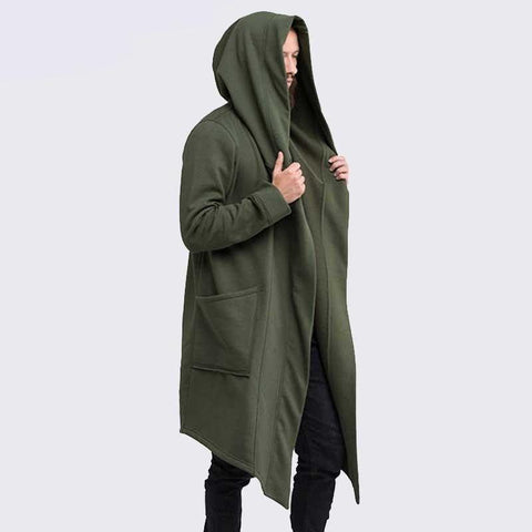 Streetwear Hoodie Long Male Black mens Hooded Cloak Hip Hop Longline Sweatshirt Sudadera Hombre Cardigan hoodies