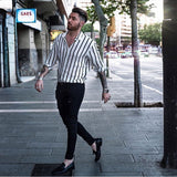 Men Slim Fit V-Neck Long Sleeve Muscle Shirt Casual Tops Trendy Vertical Striped Shirt Streetwear Cemebrities Same Style