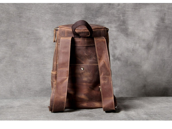 Simple retro leather shoulder layer cowhide Backpack men's large capacity bucket bag travel bags