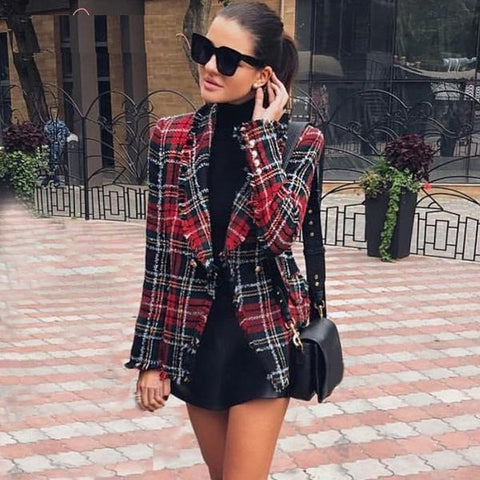 wool elegant tweed red blazer woman Turndown collar casual plaid blazer Fashion blaser winter coat female