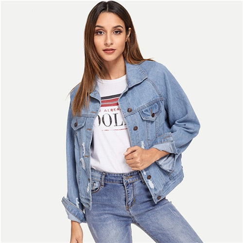 Blue Single Breasted Collar Pocket Ripped Jeans Jacket Denim Coat Women Spring Fashion Ladies Jackets Outerwear