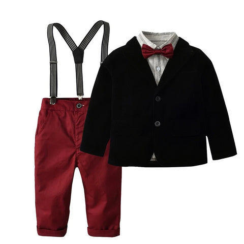 New children boy formal suits coat + shirt + pant 3 pcs clothing sets kids 2-7 year Red wine trousers baby boys clothes set