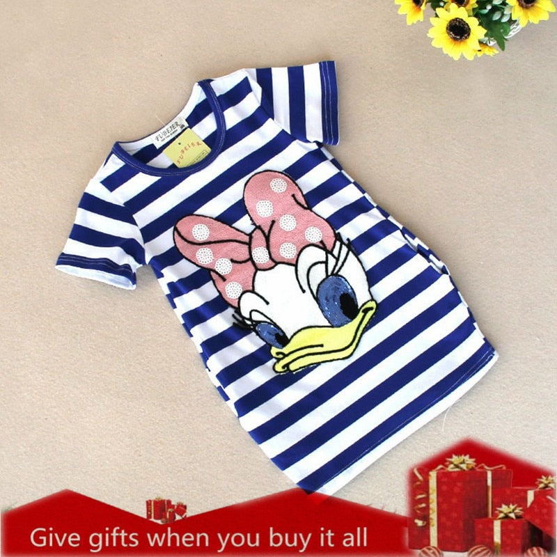 65df07e08 Girls Dress Brand Kids Girl Clothes Cartoon stripe Pattern Design Summ
