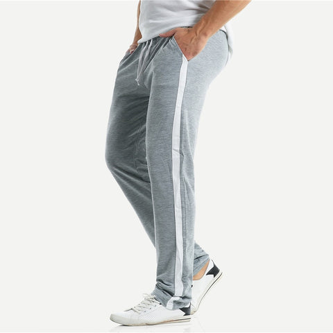 Men Contrast Panel Drawstring Pants Grey Full Length Mid Waist Sweat Pants Comfort Spring Autumn Fitness Pants