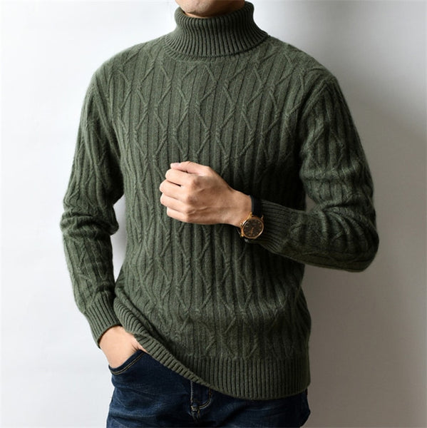 100%cashmere thick turtleneck knit men style  cross twisted solid pullover sweater 4 color S-XL