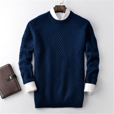 new fashion 100%cashmere twisted knit men Oneck solid H-straight pullover sweater 5 color S-2XL