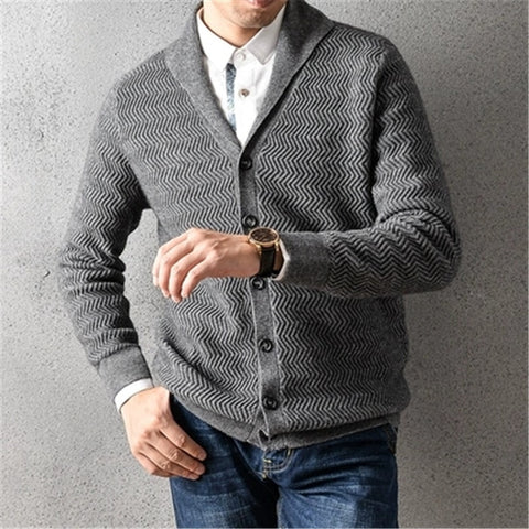 100%cashmere v-neck thick knit men smart casual solid H-straight single breasted cardigan sweater 2color S-2XL