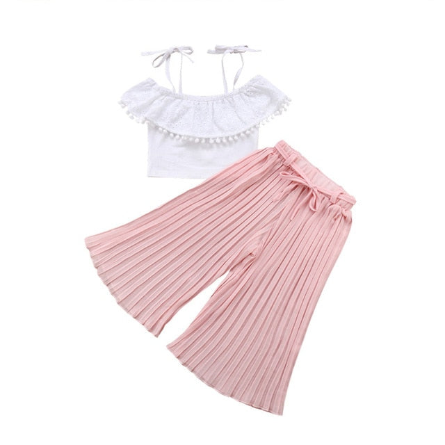 79db7bc222bbd Fashion Kids Baby Girls Lace 2PCS Outfits Strap Off Shoulder Crop Top Loose  Wide Leg Pants Clothes Set Summer