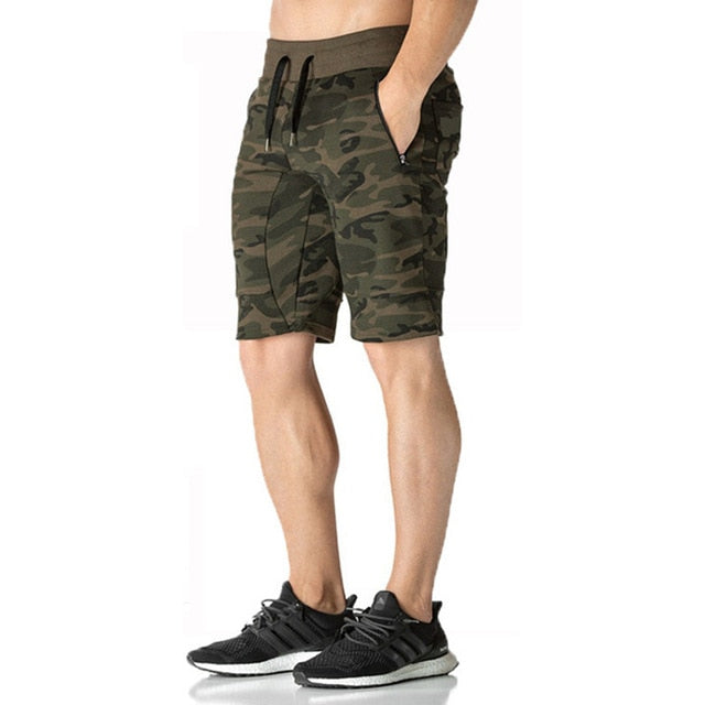 81e58cfac8d Mens Gym Fitness cotton camouflage shorts Run jogging outdoor sports ...
