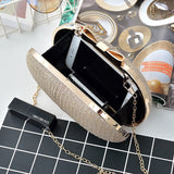 Golden Evening Clutch Bag Women Bags Wedding Shiny Handbags Bridal Metal Bow Clutches Bag Chain Shoulder Bag
