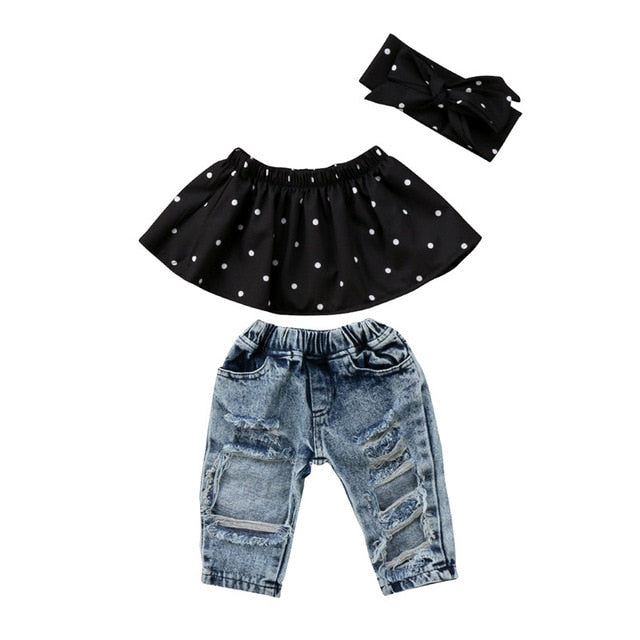 0b6b5b1731e JOHNKART.COM.  20.96 USD. 3Pcs Infant Baby Girl Clothes Set Dot Sleeveless Off  Shoulder Ruffle Tank Tops Hole Denim ...