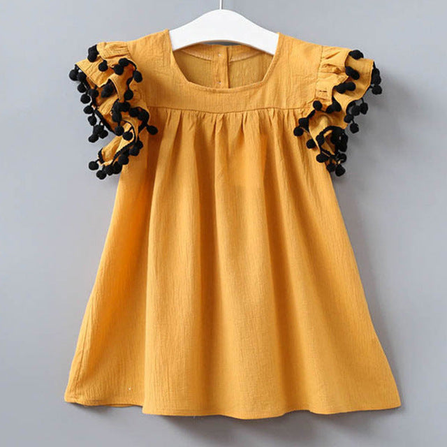 ca63b42b ... Girls Dress Casual Summer Style Bull-puncher Dresses Cotton Kids  Clothes Backless Denim Dress Shoulder