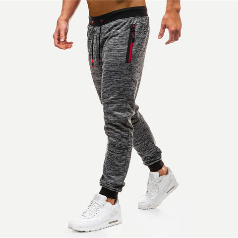 Men Space Dye Zipper Drawstring Detail Pants Hottest Streetwear Mid Waist Men Pants Spring Autumn Grey Trousers