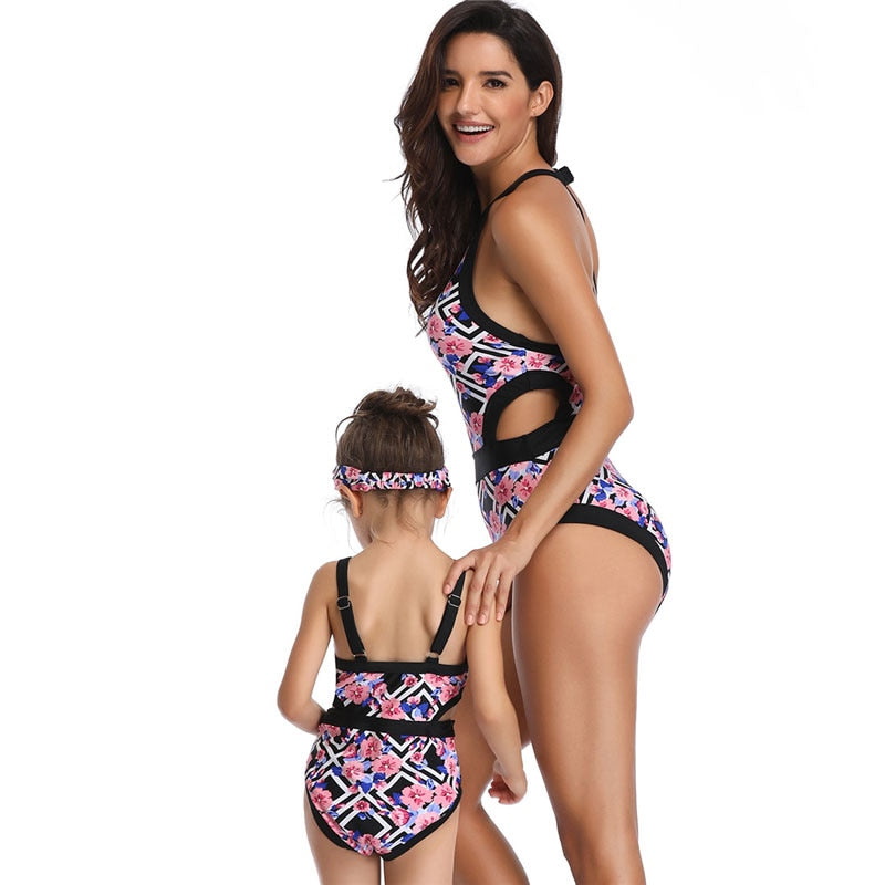 e2af3e7780 ... one piece mommy and me family swimsuit mom daughter matching clothes mum  baby swimwear bikini Floral ...
