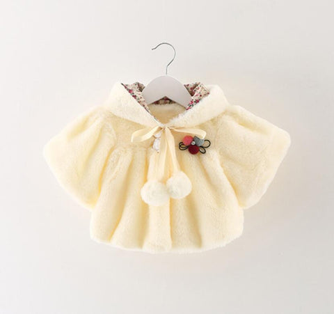 Baby girls wool Jacket winter baby shawl children clothing baby girl fleece outerwear warm coat for 0-2T baby girls KT cloak