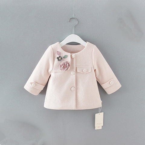 baby spring coats Spring England Style newborn baby outerwear for toddler fashion jacket clothing with flowers appliques