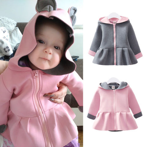 Girls Rabbit Ear Coats Hoodies Clothes Long Sleeve Zipper Autumn Outwear