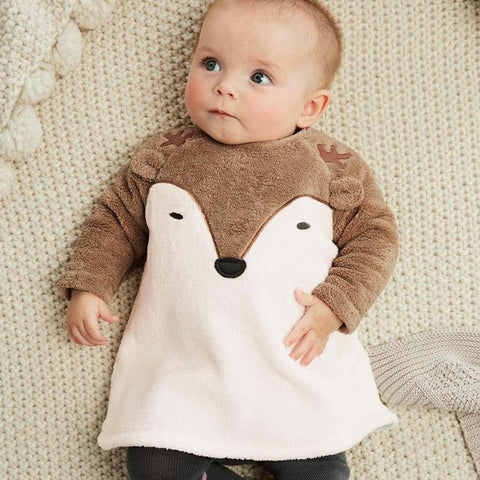 Winter Warm Baby Coat Newborn Baby Boys Girls Cartoon Fox Coat Fleece Long Sleeve O-Neck Zipper Pullover Warm Christmas Top