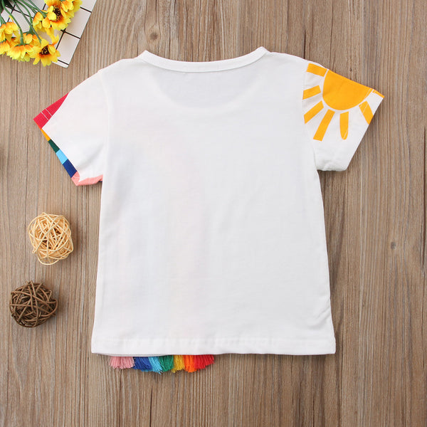 Casual Kids Baby Girls clothes Casual Rainbow colourful T Shirt Tassel Patchwork Cotton T-shirt Tops