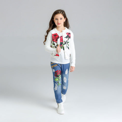 Spring girls clothing sets kids girls rose print clothes set 3pcs jacket+t-shirt+ripped jeans children suits for girls