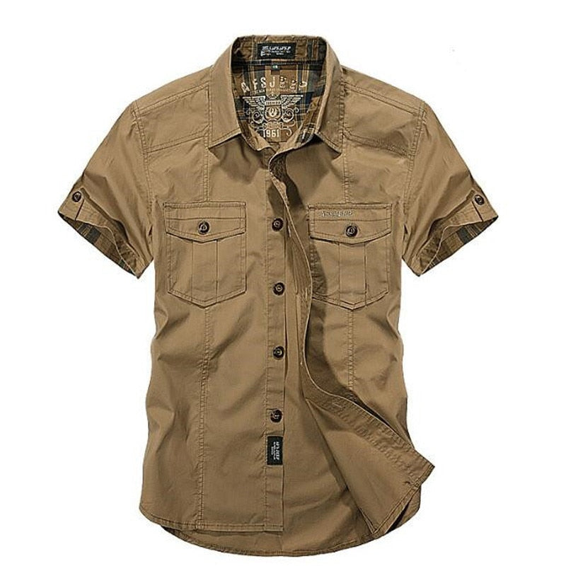 24da14b6c Men New Summer Men's Solid Military Short Sleeves Shirts Cotton Breathable  Chemise homme Loose Army Shirt ...