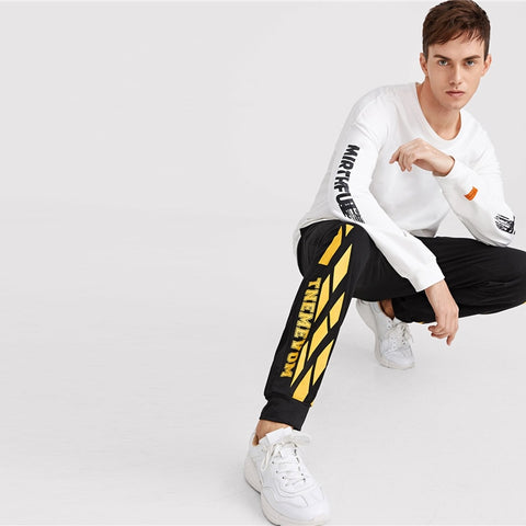 Men Drawstring Waist Letter Print Pants Black Stylish Pocket Long Sweatpants Comfy Casual Mid Waist Mens Trousers