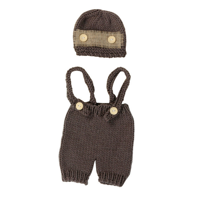 Newborn Baby Infant Knit Clothes Photo Costume Photography Prop Outfit+Hat Suits