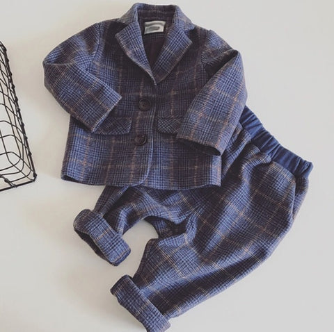 baby boy gentleman clothing sets kids uniform clothes for school birthday suits children long sleeve woolen plaid coat and pants