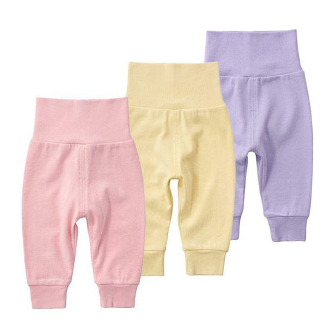 Children's Solid High Belly Leggings Boy And Girl baby Open Pants High Waist Cotton Pants Elastic Waist