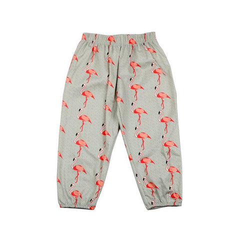 Children Boys Girls Pants Flamingo Printed Loose Pants Newborn Baby Full Length Cotton Pants Toddler Casual Clothing For Kids