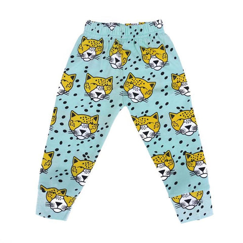 Baby Boys European Green Leopard Pattern Cotton Leisure Leggings Pants