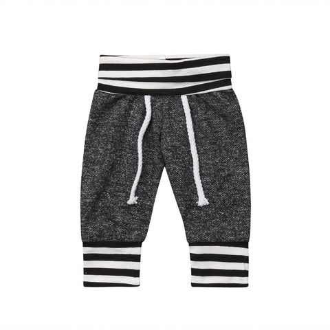 Newborn Infant Baby Boy Girls Striped Gray Long Pants Leggings Trousers