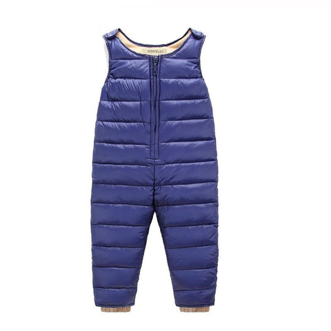 65-105cm Winter Down Baby Boy Pants Overalls Infant Girls Clothes Thicken Warm  Long Trousers Kids Pants Blue Black
