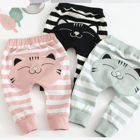 Autumn New Korean Version Pants Cotton Stripe Unisex Baby Boys Girls Pants Big Butt Children's Pants Thickening Baby