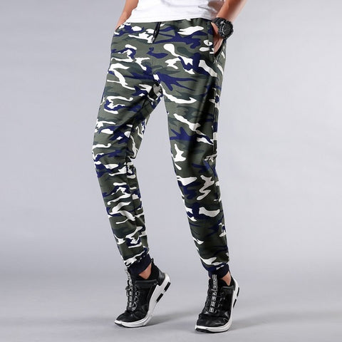 Fashionable Men Casual Long Pants Comfortable Solid Color Daily Wearing Elastic Waist Camouflage Long Pants