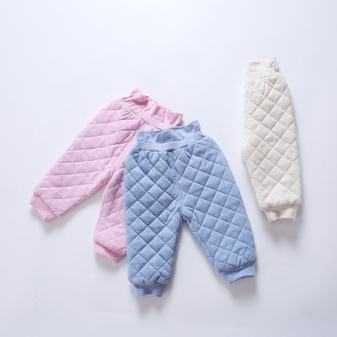 Baby clothes winter warm baby girls pants 100% cotton baby boys pant clothes kids trousers high waist padding quilted baby pants