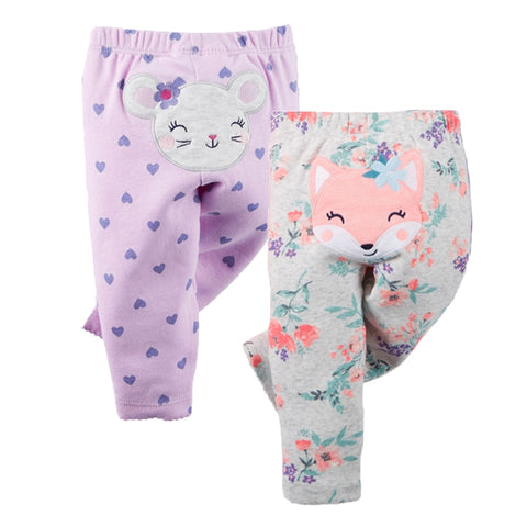 2pcs Autumn Winter Baby Pants Newborn Baby Leggings Cartoon Cotton Baby Trousers Boys Girls Pants Infant Clothing Toddler Bebes