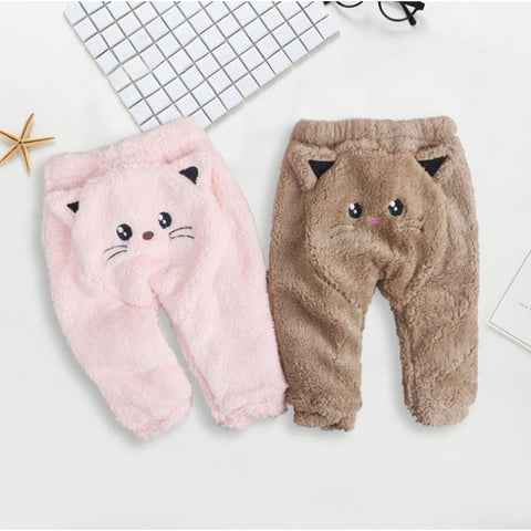 Baby pants flannel fabric cute cat style clothes Cotton lining warm for babies unisex Autumn/Winter child clothing